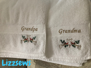 Embroidered towels that were done with wash away stabilizer, they say grandma and grandpa and have a little bird design under the name