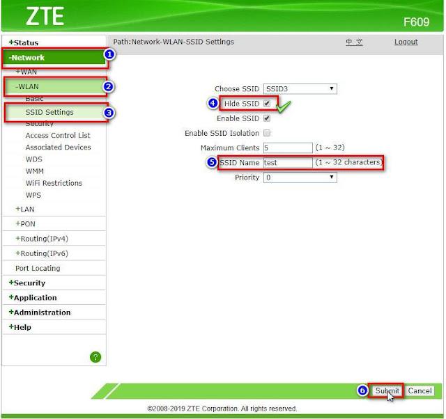 Cara Menyembunyikan/Hidden Wifi Indihome ZTE F609