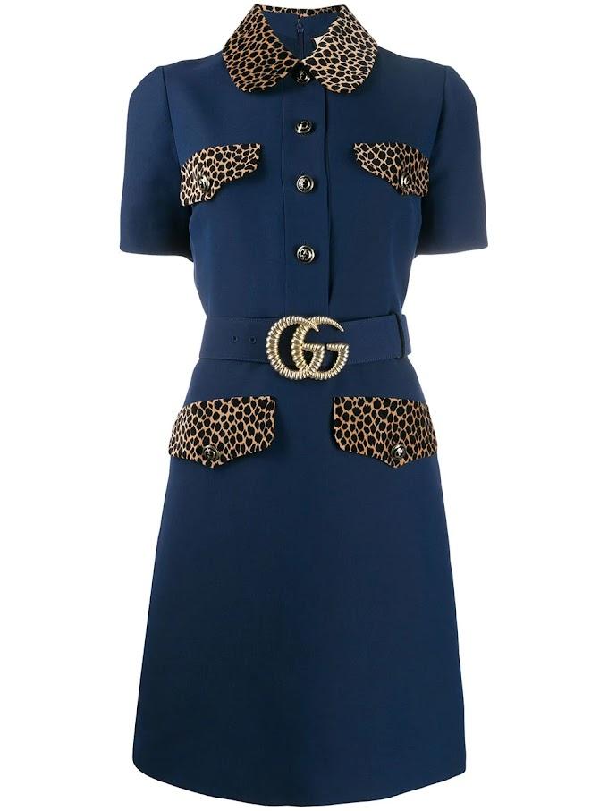 Vestido curto com cinto da Gucci