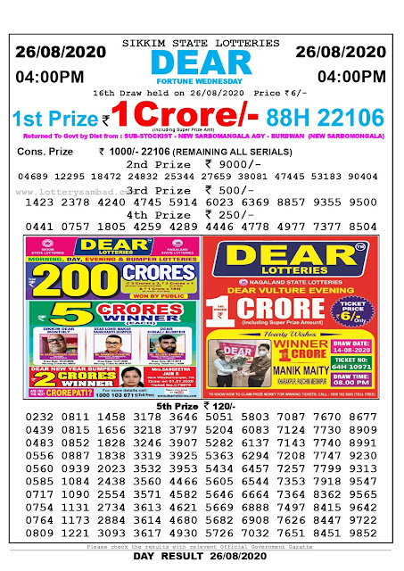 Lottery Sambad Result 26.08.2020 Dear Fortune Wednesday 4:00 pm