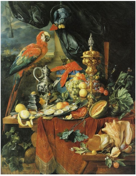 Jan Davidsz de Heem. Natureza Morta com Papagaios