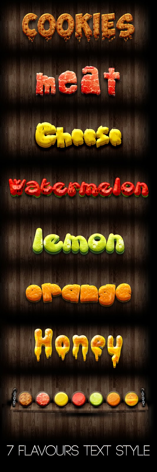 7 Flavours Text Effect PSD