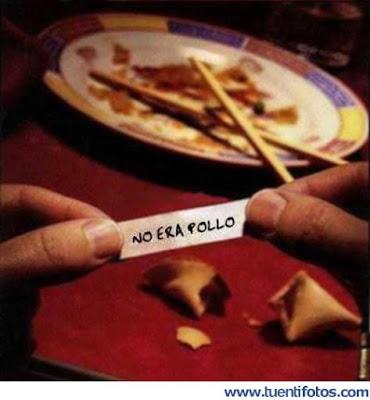 No era pollo, galletas de la suerte, restaurante chino