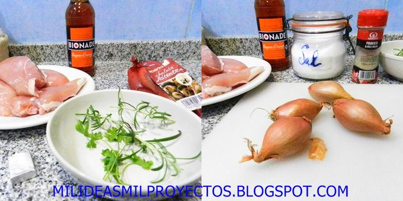 preparación paso a paso pollo a la naranja con hierbas