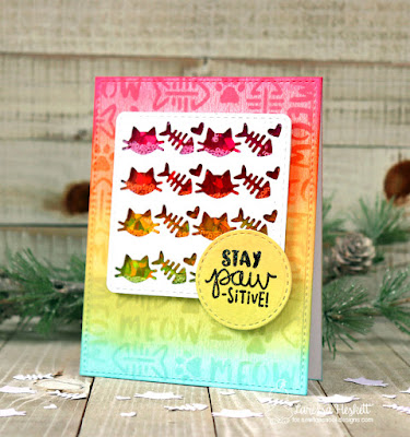 Stay Paw-sitive by Larissa Heskett using Newton's Nook Designs products  Cat-itude Stamp Set, Meow Stencil, Pawprint Shaker Die Set and Frames Squared Die Set using Therm O Web Deco Foil and Ranger Ink Distress Oxide Inks