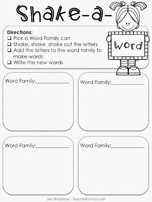 Free Shake-a-Word phonics and spelling literacy center.  TeacherKarma.com