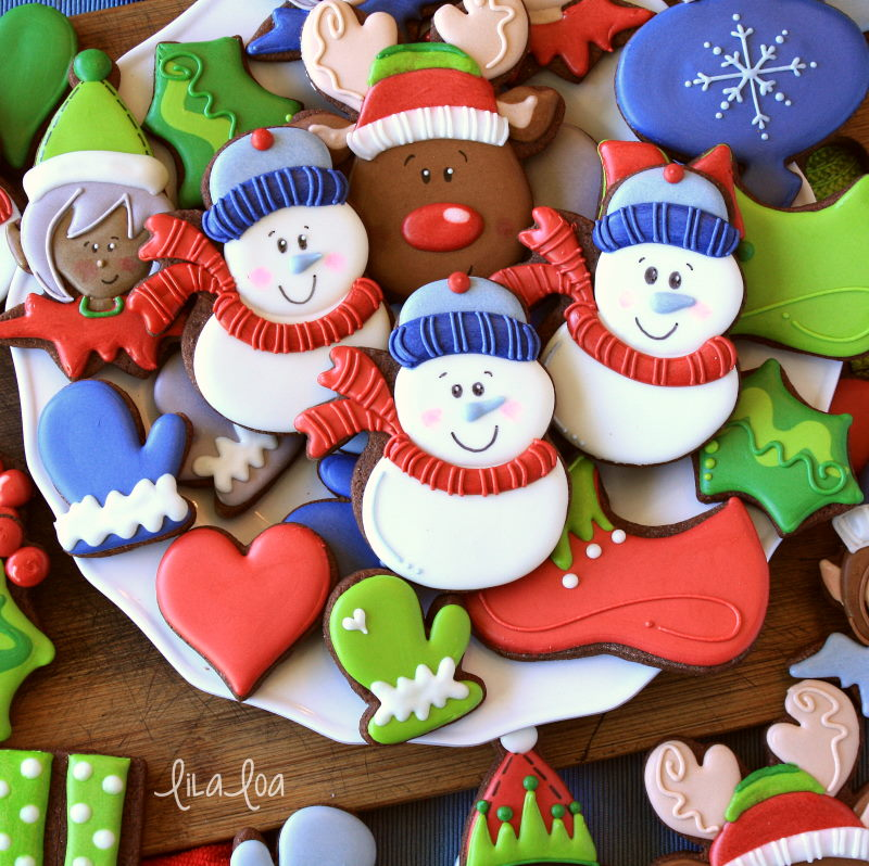 Happy and fun Christmas cookies - snowman elf faces, mittens, and holly