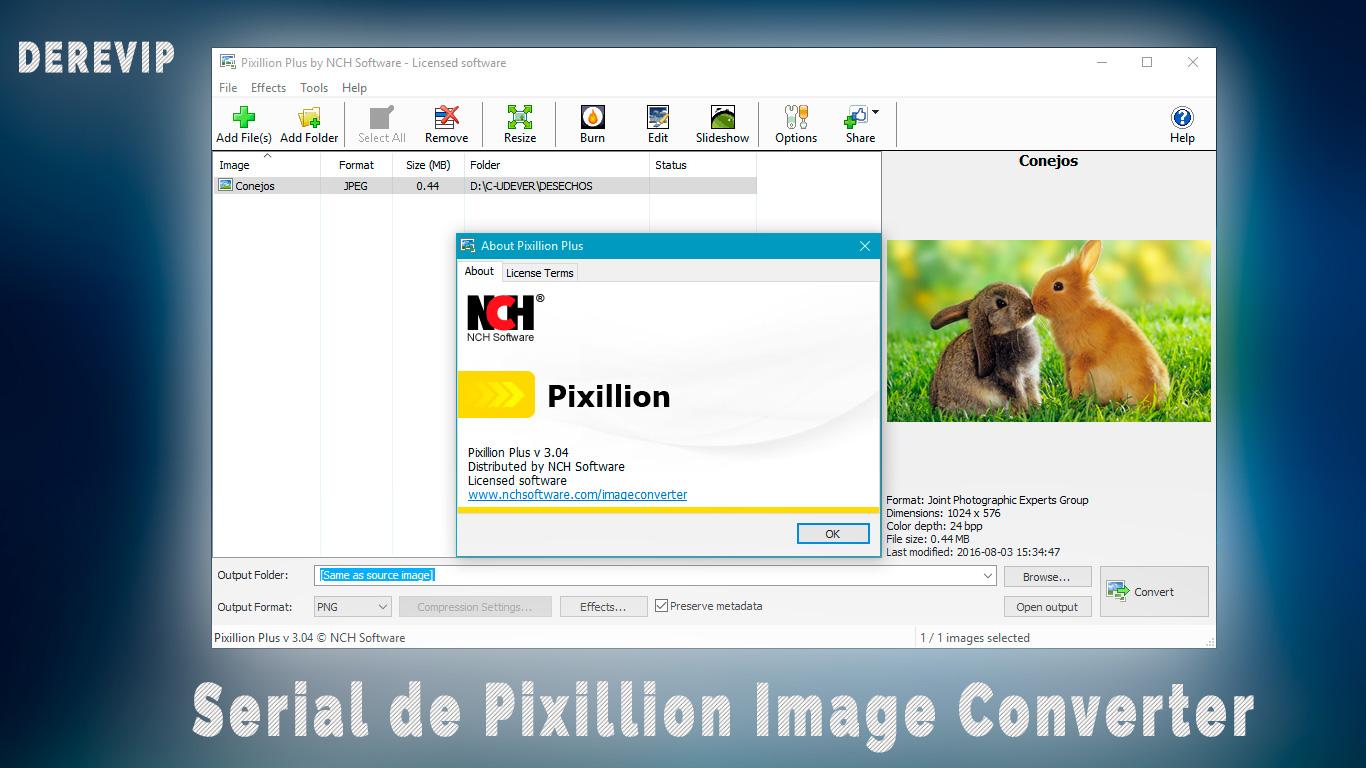 pixillion image format converter serial