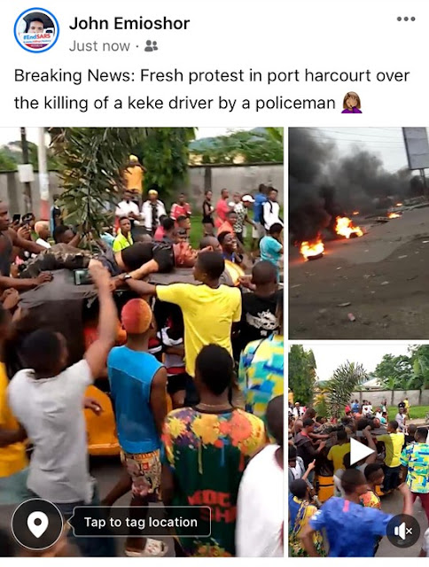 """""""Protest raids in Port Harcourt after a Police man killed a Keke driver over 100 naira Bribe"""""""