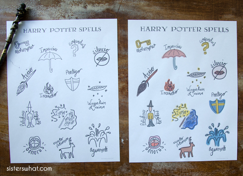 harry potter party printable spells