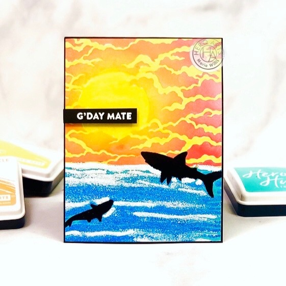 #cardbomb, #mariawillis, Hero Arts, #heroarts, #mymonthyhero, #video, #videotutorial, #stamp, #ink, #paper, #cards, #cardmaker, #cardmaking, #handmade, #handmadecards, #craft, #papercraft, #diy, #art, #color, #sharks, #ocean,