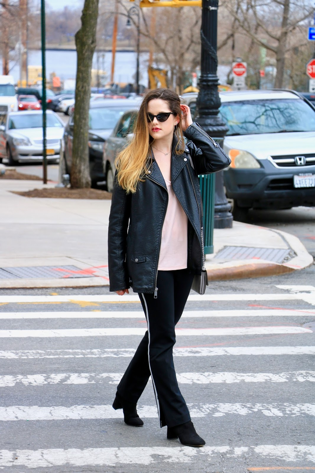 Nyc fashion blogger Kathleen Harper showing how to wear track pants