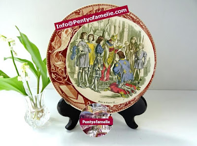 joan of arc present at legendary crowning of Charles VII. Polychrome illustrated plate produced by french antique renowned pottery late 1800s