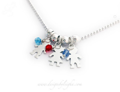 3 Kid Charm Necklace with Birthstones on a Ball Chain (.925 sterling silver & Swarovski crystals)