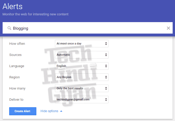 Google Alerts Setup Kaise Kare - Click More Options