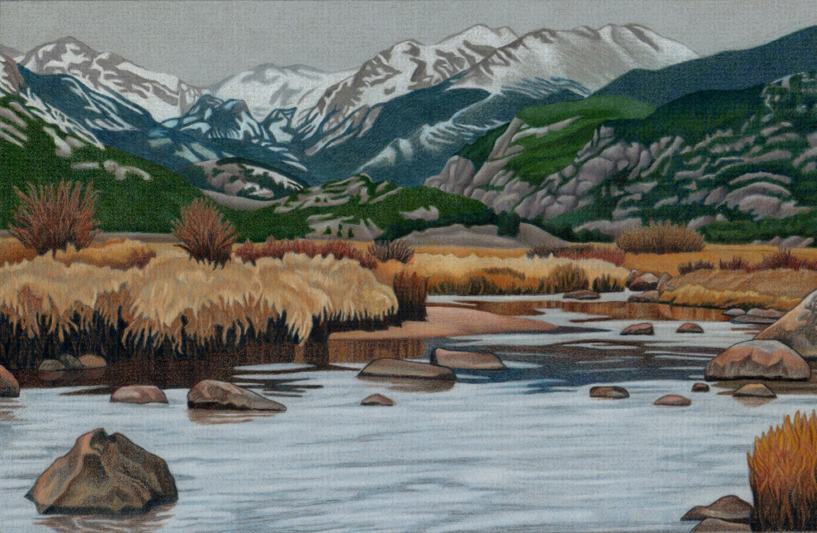 Moraine park colored pencil drawing