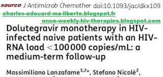 Lanzafame cure remission monotherapy dolutegravir HIV tivicay iccarre first line attack