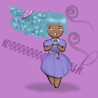 African american girl chibi, tea