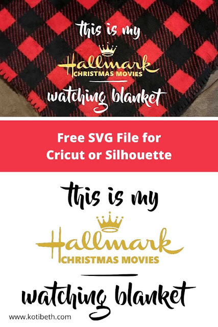 Free SVG file to make a This is My Hallmark Christmas Movies Watching Blanket. This DIY makes a great gift idea or make for yourself.  Use this SVG file in your die cutter like a Silhouette Cameo or Cricut machine. Use heat transfer vinyl to make a custom blanket. #diy #svg #svgfile #christmas #hallmark