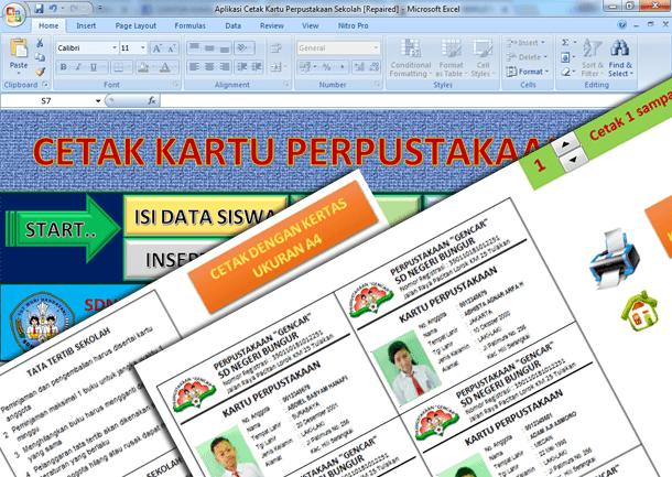 Aplikasi Cetak Kartu Perpustakaan Sekolah Format Microsoft Excel