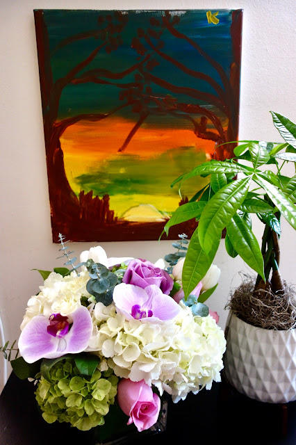 flowers, floral arrangement, money tree, painting, interior design,flowers, floral arrangement, roses, orchids, hydrangeas, tulips, eucalyptus, how to dry flowers, watercolor painting, bookmark, dried flower arrangement, how to make flowers last, blah to TADA, crafts, handmade