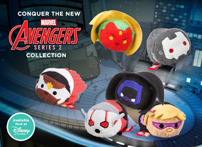 The Avengers Tsum Tsum Marvel Plush Series 2 by Disney - Black Panther, The Falcon, Ant-Man, Hawkeye, The Vision & War Machine