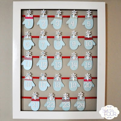 Adorable mini clothespins and mittens make this a fun holiday advent calendar
