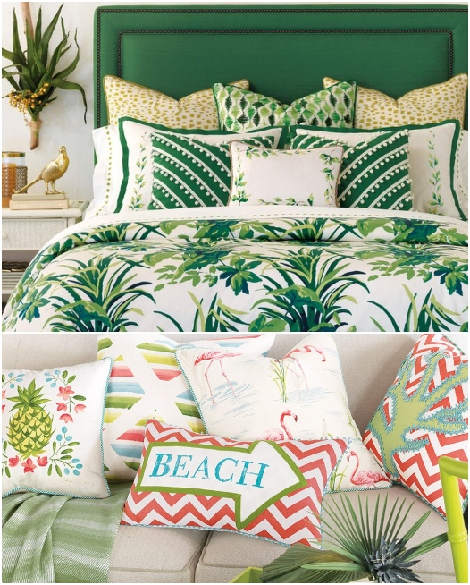 Luxury Tropical Bedding Green Colors