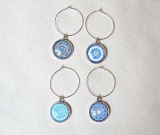 image mandala wine glass charm set blue domum vindemia handmade