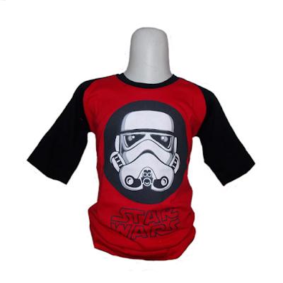 Kaos Raglan Anak Karakter Star Wars Merah