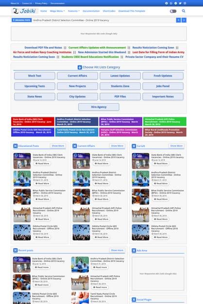 Jobiki blogger template