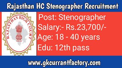 Rajasthan HC Stenographer Recruitment, Rajasthan HC Recruitment