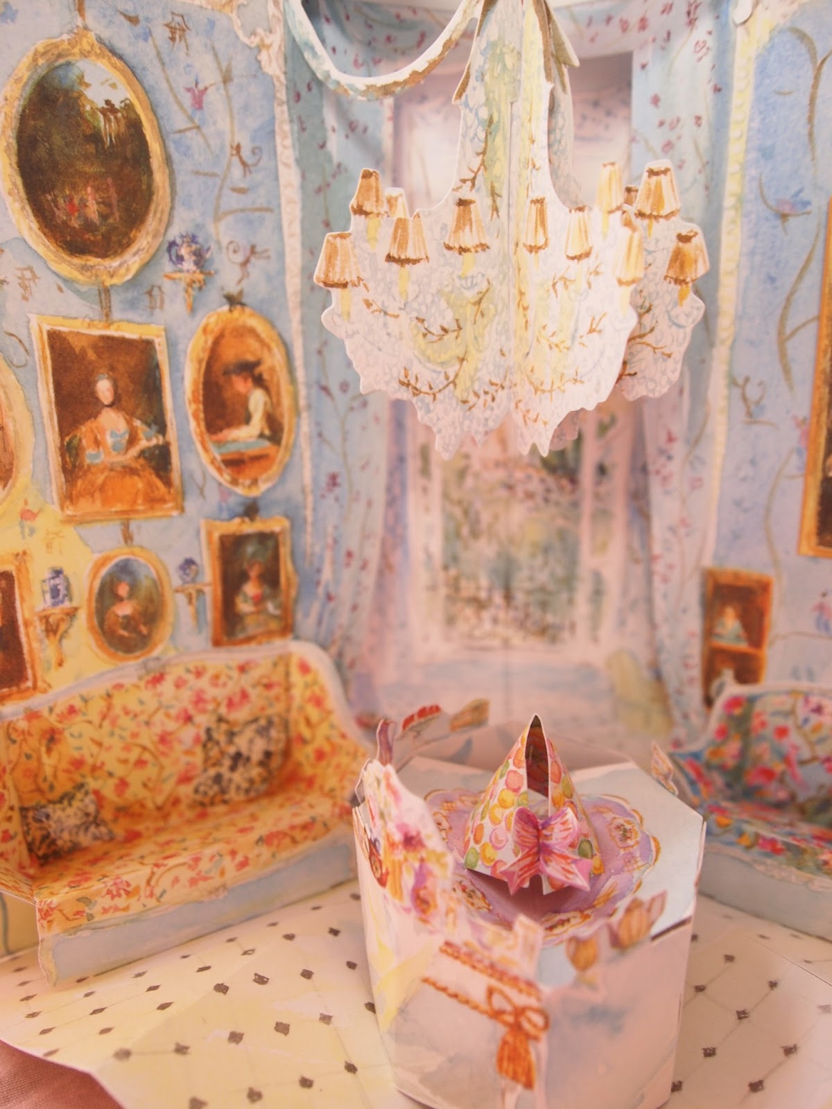 Blue And Pink Powder Room