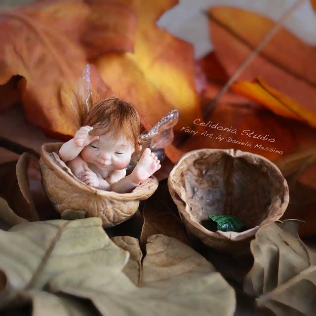 Elfo nella Noce art doll pasta polimerica
