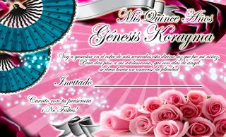 Tarjeta de Confirmación de Invitados para 15 Años novedosa color fucsia con rosas y abanicos