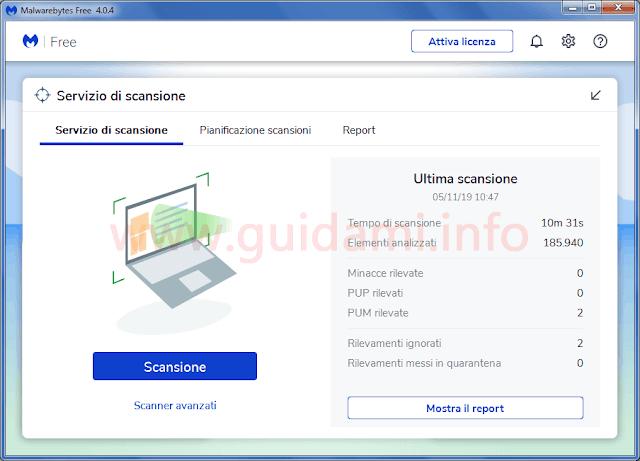 Malwarebytes 4.0 schermata Servizio di scansione