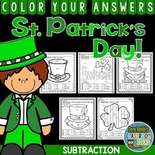 EVEN MORE St. Patrick's Day Color By Number Subtraction