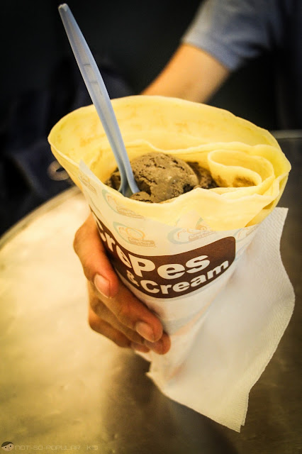 Chocolate Cashew Ice Cream in a Crepe Cone