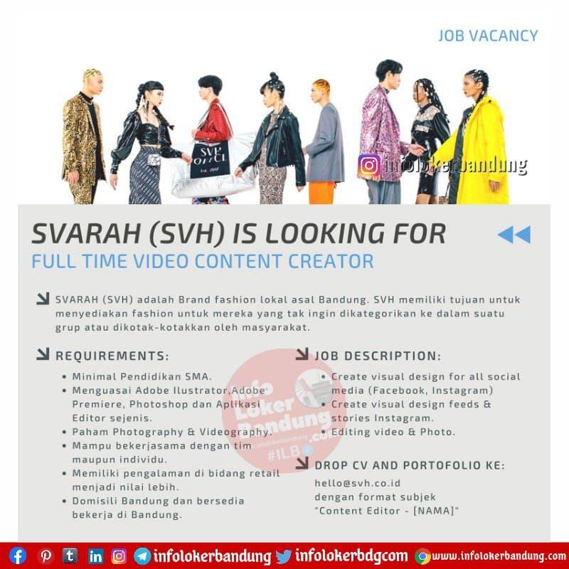 Lowongan Kerja Full Time Video Content Creator Svarah (SVH) Bandung April 2021