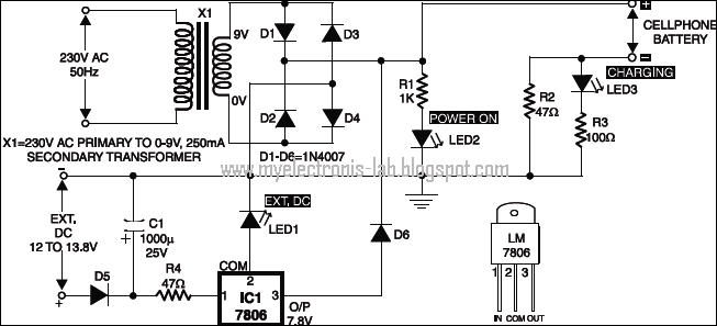electronics circuit application   mobile phone battery charger circuits