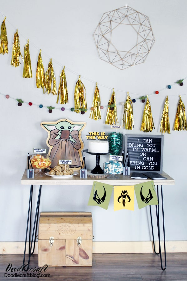 The Child baby yoda Mandalorian inspired birthday party decorations, fun food and party favors diy.