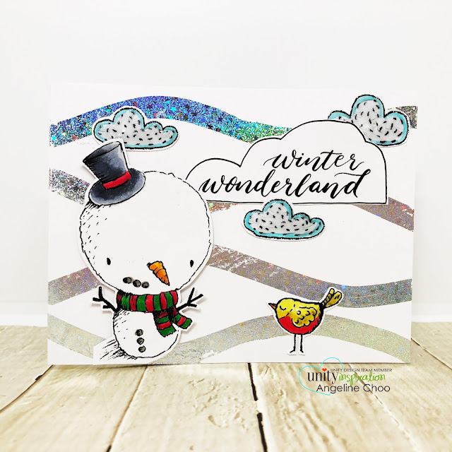 ScrappyScrappy: Unity Stamp Lisa Glanz - Wonderland #scrappyscrappy #unitystampco #lisaglanz #youtube #quicktipvideo #cardmaking #papercraft #stamp #stamping #copicmarkers #christmascard #holidaycard #winter#winterwonderland  #ginakdesigns #fancyfoils #thermoweb #taperunnerxl #snowman #foiling