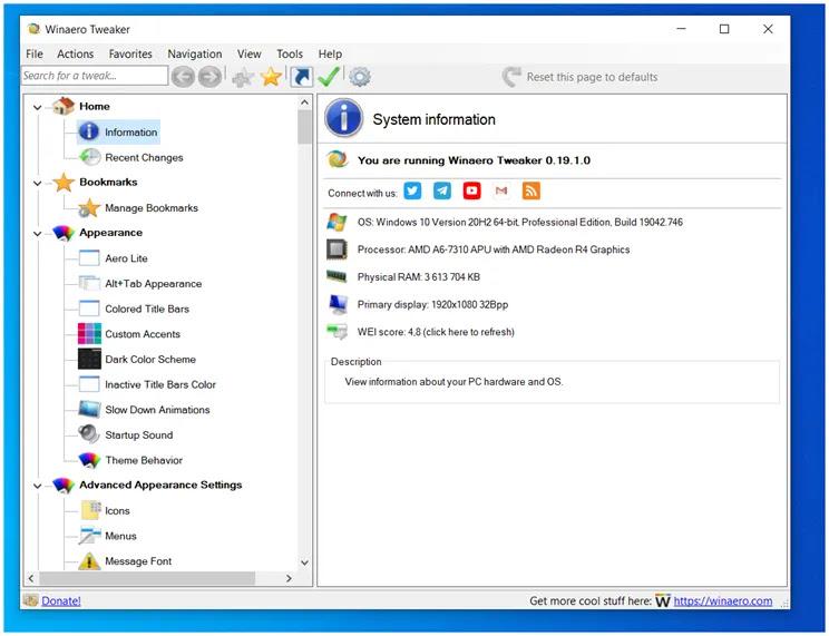 Winaero Tweaker :  Προσαρμόστε τα Windows στα μέτρα σας