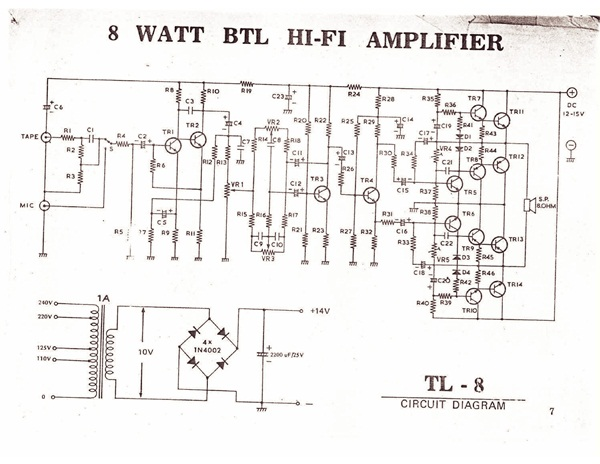 Skema Amplifer 8 watt, 10 watt, 15 watt, 20 watt, 25 watt , 45 watt dan 70 watt