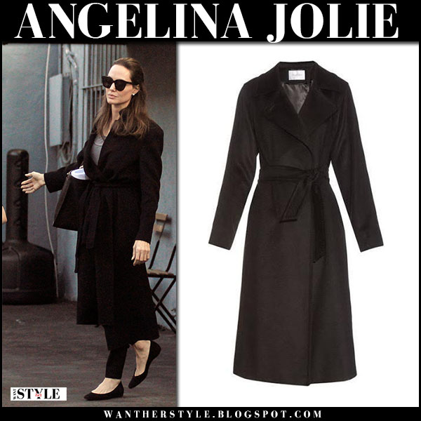 Angelina Jolie in black wrap wool coat max mara manuela street fashion march 27