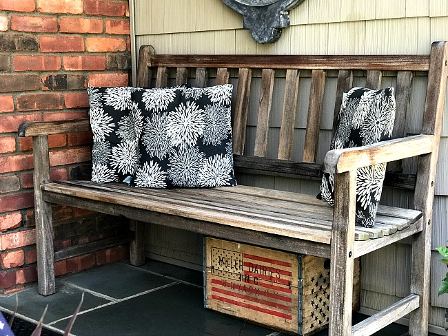 Teak Bench with pillows