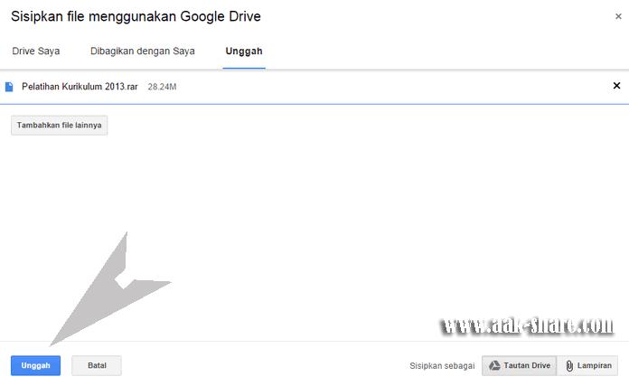 Mengunggah melalui Google Drive