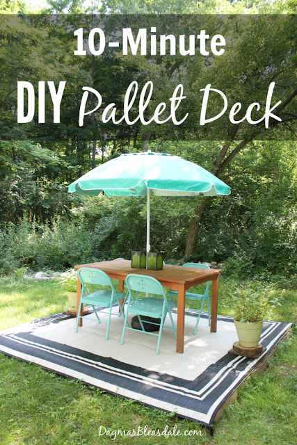 DIY pallet wood deck featured at Knick of Time's Talk of the Town Link Party