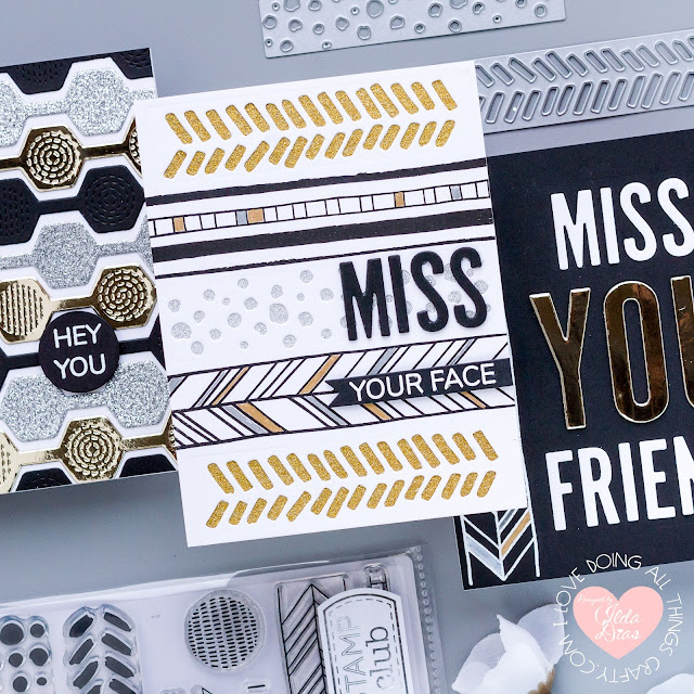 January 2021, Backgrounds & Borders, Stamp Club, Blog Hop, Tonic Studios, Metallic Papers, Card Making, Stamping, Die Cutting, handmade card, ilovedoingallthingscrafty, Stamps, how to, friendship cards, Miss you