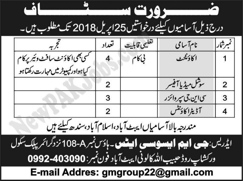 Accountant,  Social Media Officer,  CNG Supervisor,  Auditor Accounts Jobs 2018
